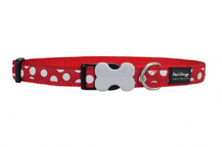 Red Dingo Polka Dot Dog collar White Spots on Red